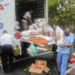 unloading kosher food pantry